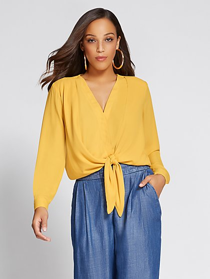 Gabrielle Union Collection - Tie-Front Wrap Shirt - New York & Company