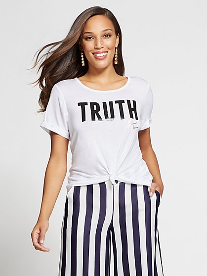 "Gabrielle Union Collection - ""Truth"" Graphic Tee - New York & Company"