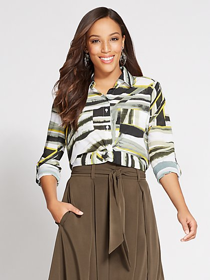 Gabrielle Union Collection - Twist-Front Shirt - Print - New York & Company