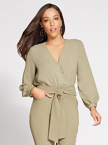 Gabrielle Union Collection - V-Neck Wrap Bodysuit - New York & Company