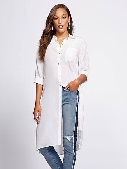 Gabrielle Union Collection - White Duster Shirt - New York & Company