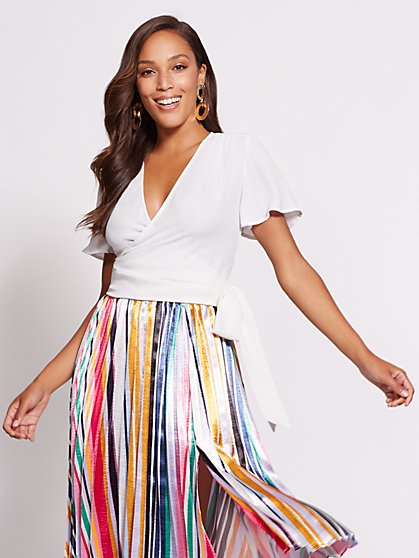 Gabrielle Union Collection - White Wrap Blouse - New York & Company