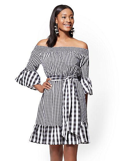 Gingham Off-The-Shoulder Flare Dress - New York & Company