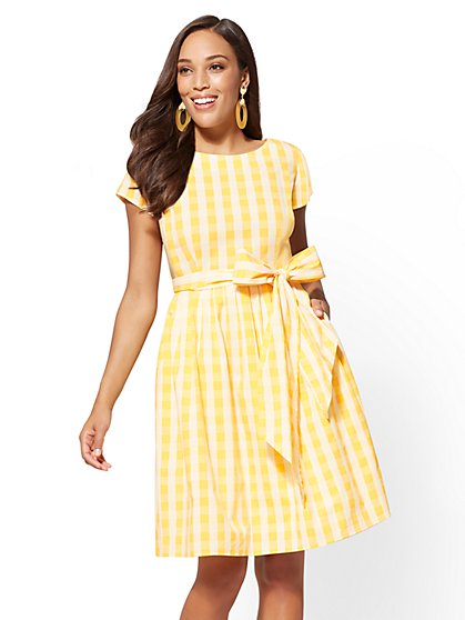 Gingham Poplin Fit and Flare Dress - New York & Company