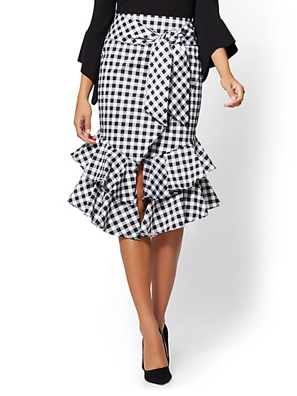 Gingham Poplin Wrap Skirt - New York & Company