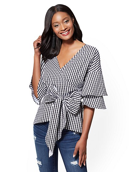 Gingham Tiered-Sleeve V-Neck Wrap Blouse - New York & Company