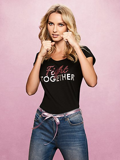 "Glittering ""Fight Together"" Tee - New York & Company"