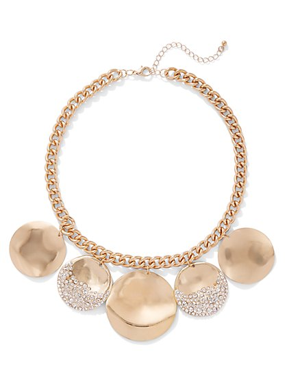 Glittering Goldtone Disc Necklace - New York & Company
