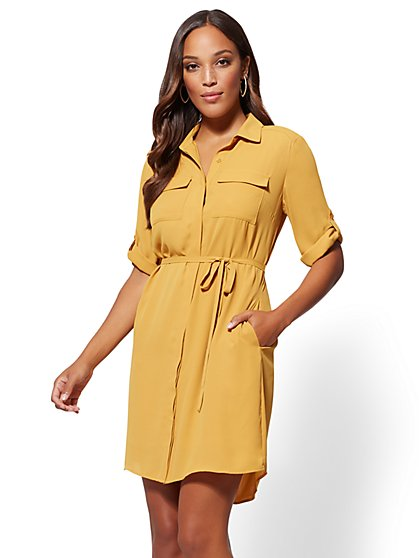 Gold Belted Shirtdress - New York & Company