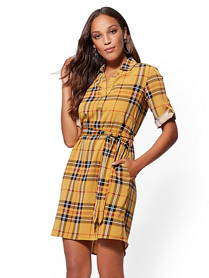 Gold Plaid Belted Shirtdress - New York & Company
