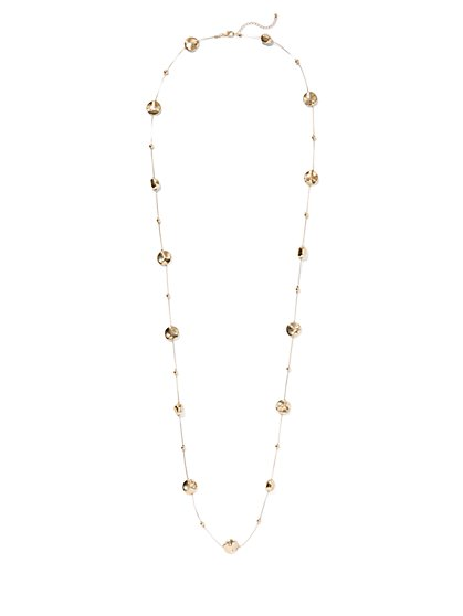 Goldtone Beaded Disc Necklace - New York & Company