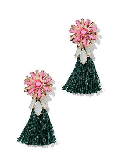 Goldtone Beaded Tassel Drop Earring - New York & Company