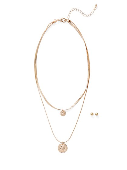 Goldtone Layered Coin-Accent Necklace - New York & Company