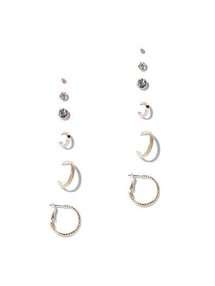 Goldtone Post & Hoop Earring Set - New York & Company