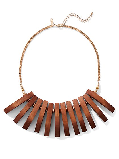 Goldtone Wooden-Fringe Statement Necklace - New York & Company