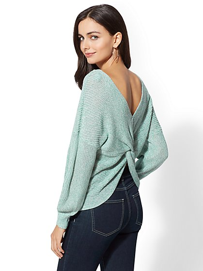 Green Marled Reversible Sweater - New York & Company