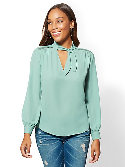 Green Tie-Neck Blouse - New York & Company