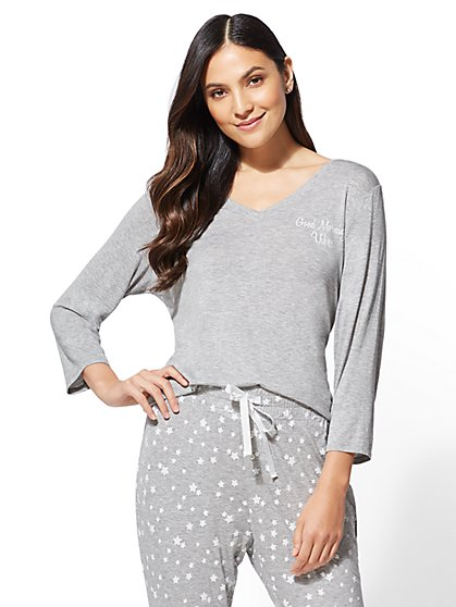 "Grey ""Good Morning Vibes"" Pajama Top - New York & Company"