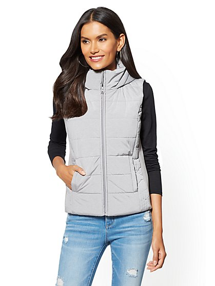 Grey Quilted Hooded Vest - New York & Company