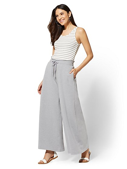 Grey Stripe Tank-Top French Terry Jumpsuit - New York & Company