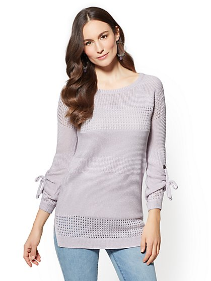 Grommet-Tie Sleeve Tunic Sweater - New York & Company
