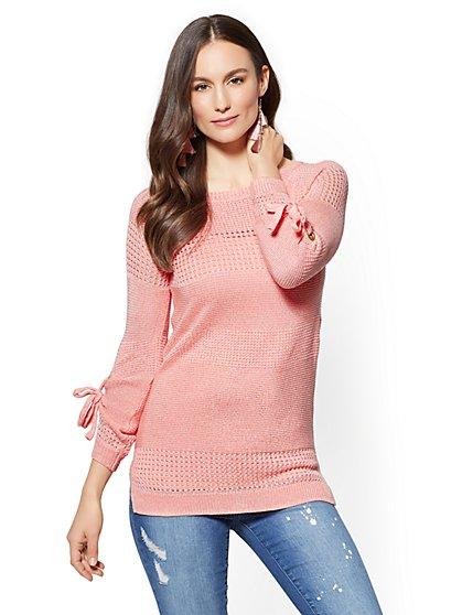 Grommet-Tie Sleeve Tunic Sweater - New York & Company