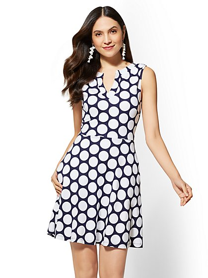 Gwen Dot Fit and Flare Cotton Dress - New York & Company