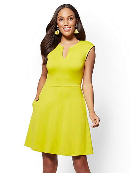 Gwen Fit and Flare Cotton Dress - New York & Company