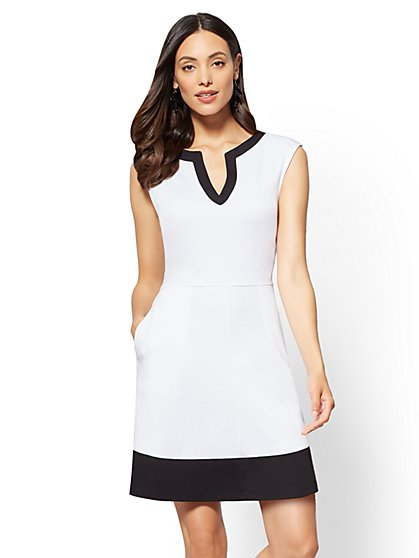 Gwen Petite Colorblock Fit and Flare Cotton Dress - New York & Company