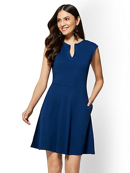 Gwen Petite Fit and Flare Cotton Dress - New York & Company