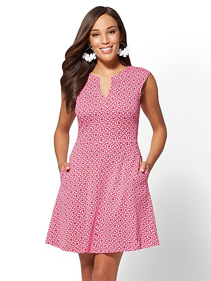 Gwen Print Fit and Flare Cotton Dress - New York & Company