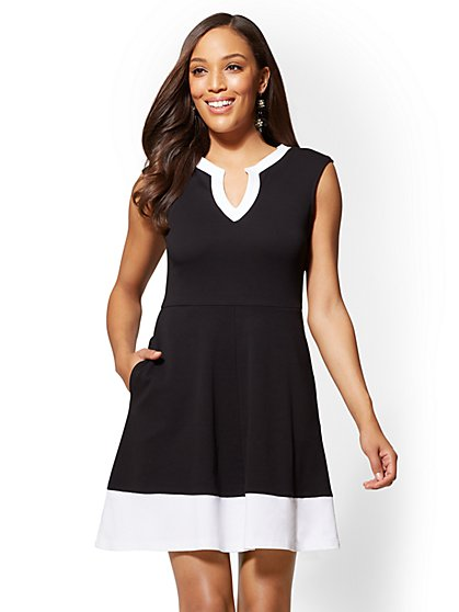 Gwen Tall Colorblock Fit and Flare Cotton Dress - New York & Company