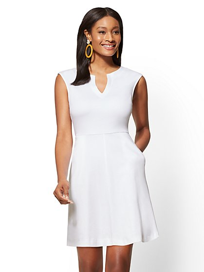 Gwen Tall Fit and Flare Cotton Dress - New York & Company