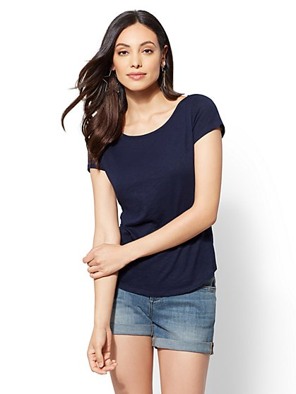 Hampton Bateau-Neck Cotton Tee - New York & Company