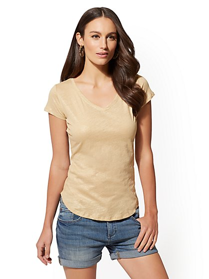 Hampton Metallic-Foil V-Neck Tee - New York & Company
