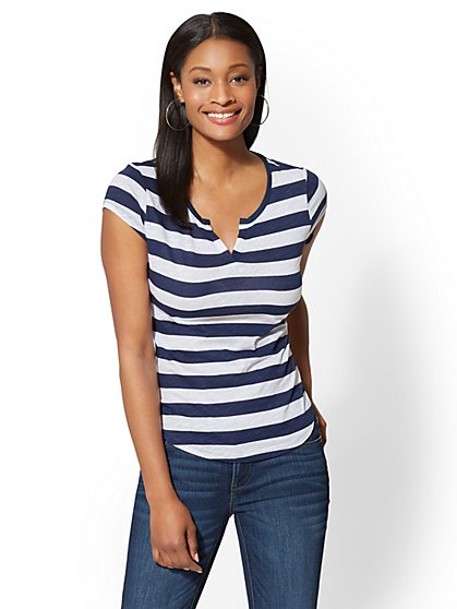 Hampton Striped Cotton Split-Neck Tee - New York & Company