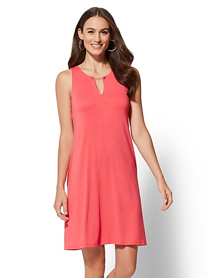 Hardware-Accent Split-Neck Swing Dress - New York & Company