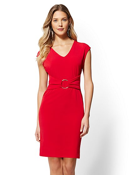Hardware-Accent V-Neck Dress - New York & Company