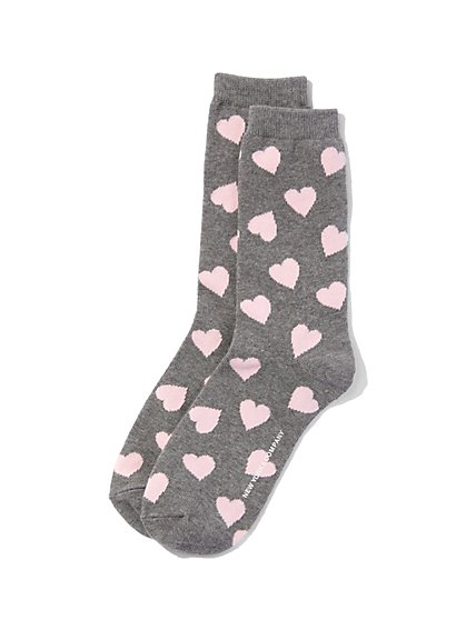 Heart-Print Crew Sock - New York & Company