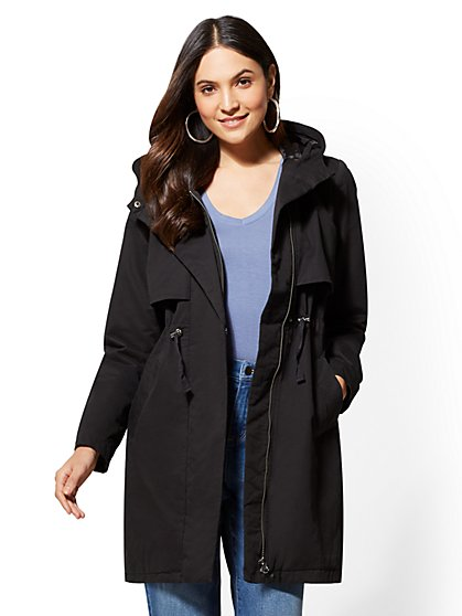 Hooded Drawstring-Tie Anorak Jacket - New York & Company
