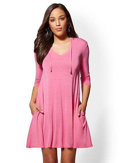 Hooded V-Neck Swing Dress - New York & Company