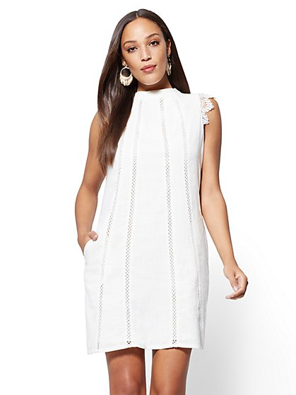 Ivory Lace-Trim Linen-Blend Shift Dress - New York & Company