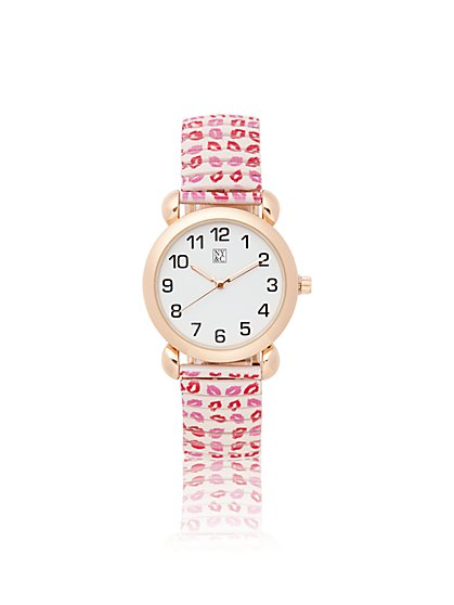 Kiss-Print Stretch Band Watch - New York & Company