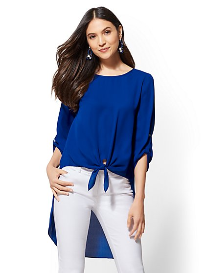 Knot-Front Hi-Lo Blouse - New York & Company
