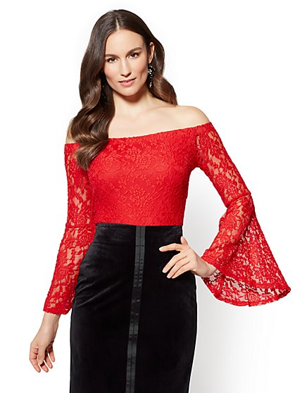 Lace Off-The-Shoulder Bell-Sleeve Blouse - New York & Company