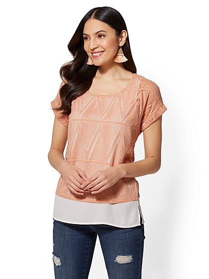 Lace-Overlay Scoopneck T-Shirt - New York & Company
