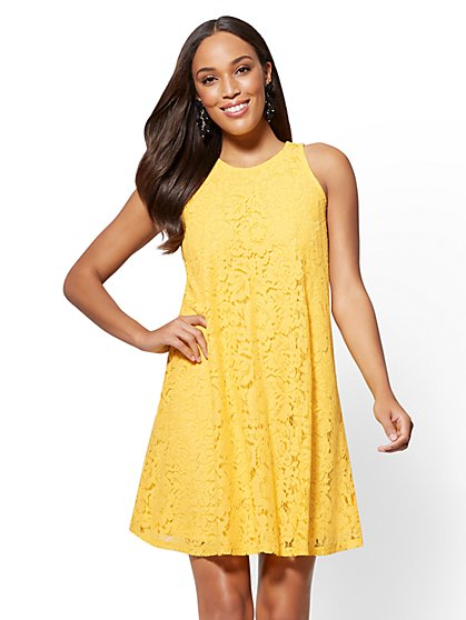 Lace-Overlay Shift Dress - New York & Company