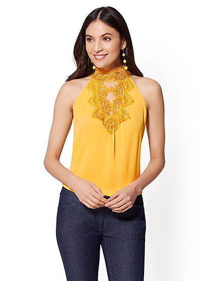 Lace-Trim Halter Blouse - New York & Company