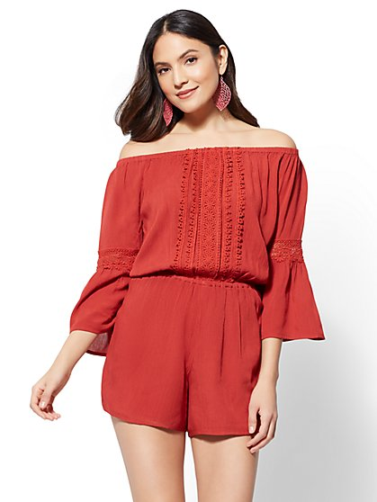 Lace-Trim Off-The-Shoulder Romper - New York & Company