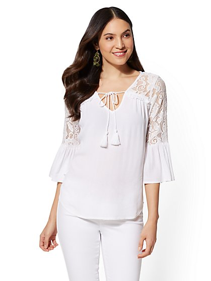 Lace-Trim & Ruffled Peasant Blouse - New York & Company